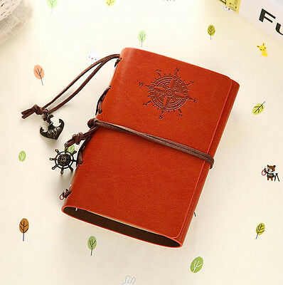 Yellow Brown Pirate Retro Vintage Pocket PU Leather Notebook Diary Kraft Journal