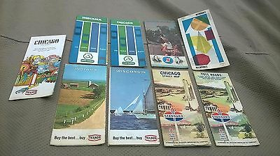 Lot of 9 Vintage TEXACO SINCLAIR CITIES SERVICE STANDARD Gas Station Road Maps