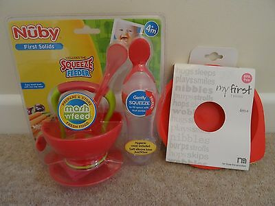 Nuby Baby Feeding set with Squeeze Feeder & First 3 x Plastic Plates Mothercare