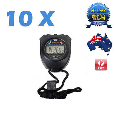 10 X Stopwatch Handheld Digital LCD Chronograph Sports Counter Timer Stop Watch