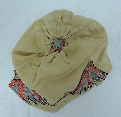 Original Art Deco Vintage 20's Cloche Hat Embroidered Antique Dolls Cap Child's