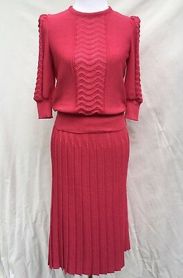 Vintage Castleberry size 8 Raspberry Pink Knit Skirt & Sweater Set