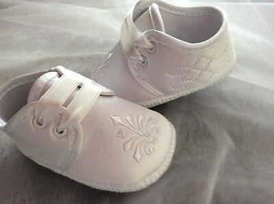 Baby Boys White Christening Satin Bootee Shoes  3/6M 6/12M