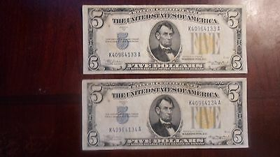 (2) 1934A 5 dollar north africa silver certificates with consecutive serial #s