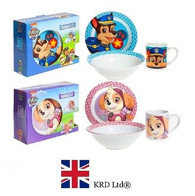 Kids PAW PATROL CERAMIC BREAKFAST SET Dining Bowl Mug Plate Toys Gift Box UK