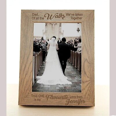 "Personalised Wedding Photo Frame 7"" x 5"" Free Engraving Father Of The Bride Gift"