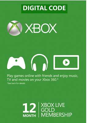 Xbox Live Gold Membership (Xbox One/360) 12 Month  Digital Code - New