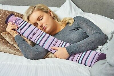 Purple Striped Cover Extra Long Odour Free Tubular PVC Hot Water Bottle