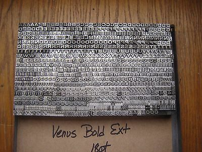 "Letterpress Metal Type  "" Venus Bold Extended""  18 Point"