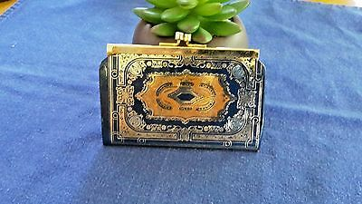 Vintage Leather Coin Purse with Gold Design #C1467