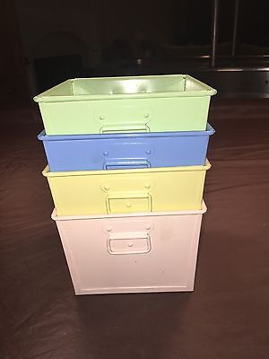 Pottery Barn Kids Small Metal Storage Bins Set Of 4 Nursery Pastels