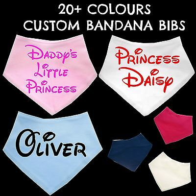 Disney Style Personalised Baby Bib Bandana Any Name Boy Girl Gift Custom Printed