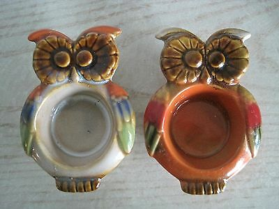 2 Vintage Retro Owl Tea Light Candle Holders or Trinket Dishes