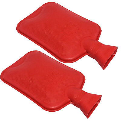 Sure Thermal Plain Rubber Work Office Home Winter Hot Water Bottle Twin Pack Red