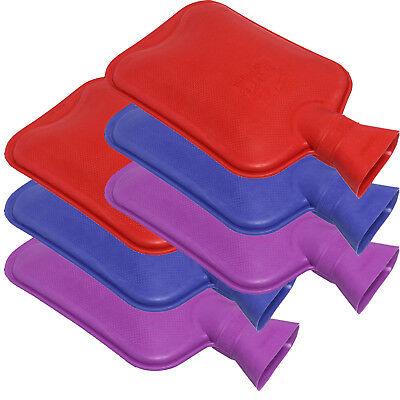 sure Thermal Winter Hot Water Bottle Family Pack, 6 x Coloured Plain Rubber HWB