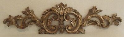 Stunning Solid Wood Brushed Gold Scroll & Floral Wall Art Topper Pediment 31""