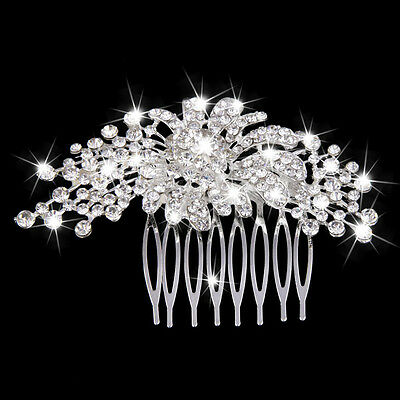 Wedding Floral Rhinestone Hair Comb Slide Bridal Hair Pin Hair Accessories