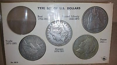 Type Set of (4) U.S. Silver Dollars in a Whitman Holder! Free Shipping!!!