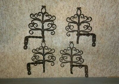 4 Antique Wrought Iron Curtain Rod Holders ? Hardware Brackets