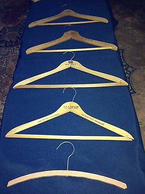 Lot of 5 Vintage ADVERTISING WOOD Wooden CLOTHING HANGERS