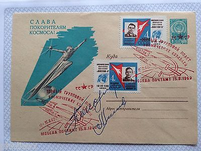 A. Nikalayev and Pavel Popovich Soviet Cosmonauts signed  Cover: Vostok 3 and 4