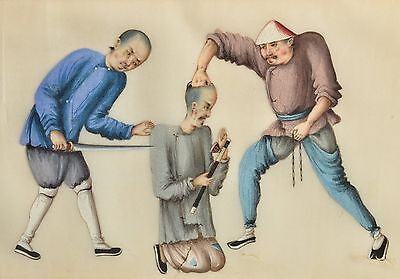 Antique Chinese Pith Rice paper painting, 3 figures, torture punishment scene #2