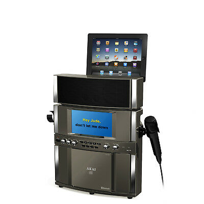Black Bluetooth Karaoke System with Built-in Stereo Speakers and USB Recording