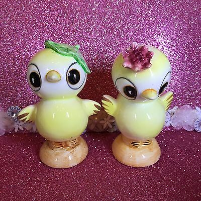 Vtg Large Boy Girl Big Eye Chicks Leaf & Flower On Heads Shaker Figurines Japan