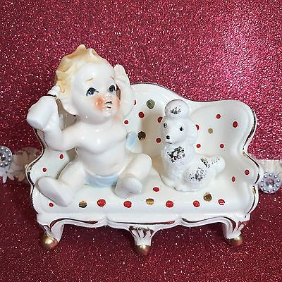 Vtg Baby Boy In Diaper W/ Bottle On Polka Dot Couch W/ Poodle Figurine Japan