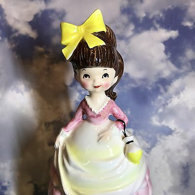 Vtg Tall Inarco Shopper Girl Big Yellow Bow Pink Dress Figurine Japan