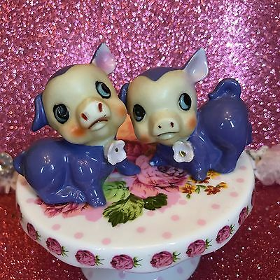Vintage Purple Spring Piglets Pink Flowers Figurines Japan