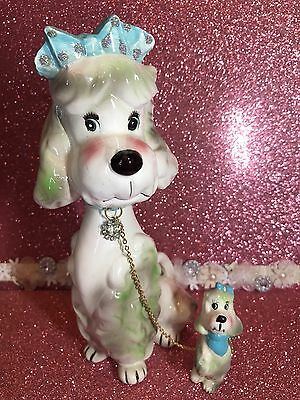 Vtg Kreiss & Company Park Ave Pup Tall Mama Dog Girl Figurines On Chain Japan