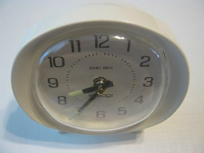 Baby Ben Westclox Made in USA White Alarm Clock