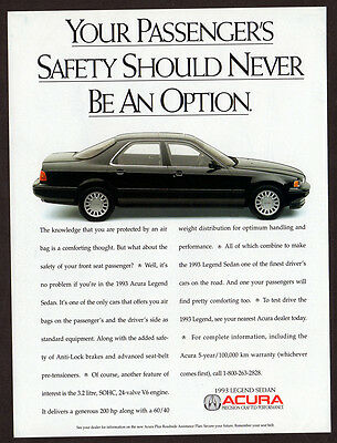 1993 ACURA Legend Sedan Original Print AD - Black car photo, safety should never