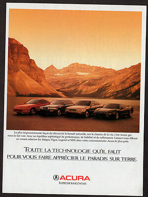 1994 ACURA Integra, Vigor, Legend and NSX 1995 Original Print AD - photo cars