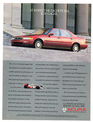 1991 ACURA Legend 1992 Original Print AD - red car, McLaren, F1, Ayrton Senna