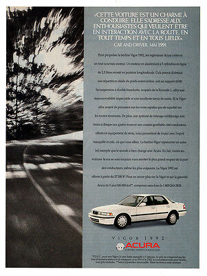 1992 ACURA Vigor Original Print AD - white car photo, road, french canadian ad
