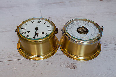 West German Schatz Royal Mariner Brass Ships Clock and Barometer Set -MAKE OFFER