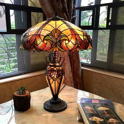 Hand Cut Glass Tiffany-Style Victorian Lighted Base Table Lamp Bronze Finish 2