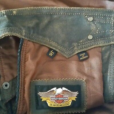 Harley Davidson Distressed Chaps Brown Leather Size Large SNAPS ZIPPERS LINED