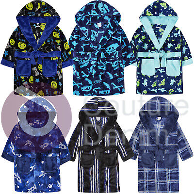 Kids Boys Bath Robe Hooded Dressing Gown Printed Novelty Super Soft Coral Fleece