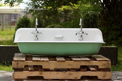 "48"" Antique Inspired Kohler Farm Sink Arsenic Green Cast Iron Porcelain Trough"