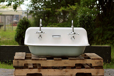"36"" Antique Inspired Kohler Farm Sink Green Blue Cast Iron Porcelain Trough Sink"