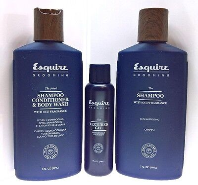 Esquire -SET, SHAMPOO 89ml, Esquire 3-in-1 BODY WASH 89 ml ,TEXTURED GEL 30 ml
