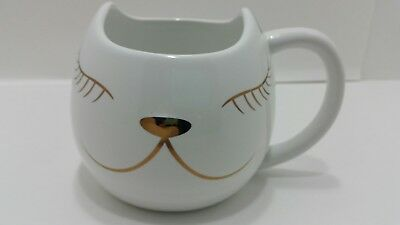 Arlington Designs Coffee Mug Cat, White with Rose gold Accents, NEW