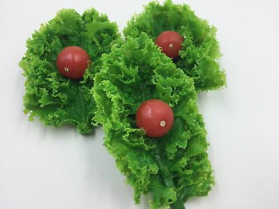 Fake Food Realistic Plastic CHERRY TOMATO KALE LEAF Garnish Display Decor Prop