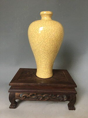 A Unique Beautiful Chinese Song Dynasty Guanware Yellow Glaze Porcelain Mei Vase