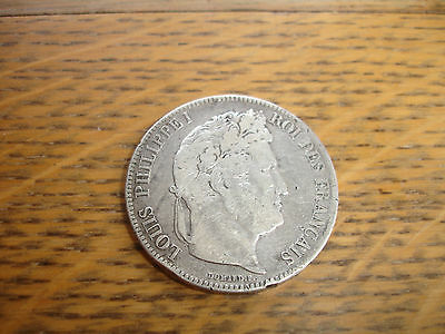 Large Antique Vintage 1839-B 5 Franc Louis Philippe I Silver Coin French
