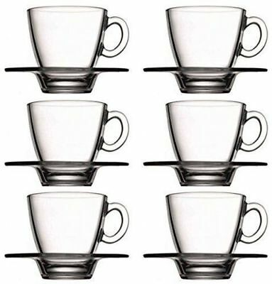 12 Pcs Coffee Espresso Cup Tempered Glass Cups With Saucers