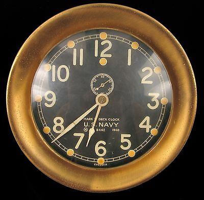 Rare 1940 Chelsea Mark I U.s. Navy Deck Clock Solid Brass W Wall Mount And Key !